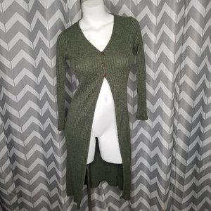 DISCOVERY green long cardigan